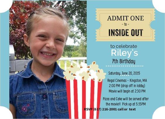 Popcorn and Ticket Photo Birthday Movie Party Invite