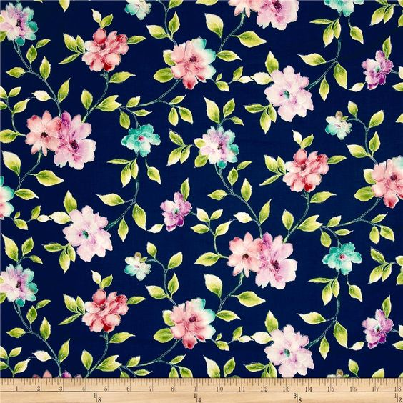 Ariel Floral Vine Navy from @fabricdotcom  Designed by Studio 8 for Quilting Treasures, this cotton print fabric features a beautiful watercolor-like floral design. Perfect for quilting, apparel and home decor accents. Colors include navy, lilac, lavender, navy and shades of pink and green.
