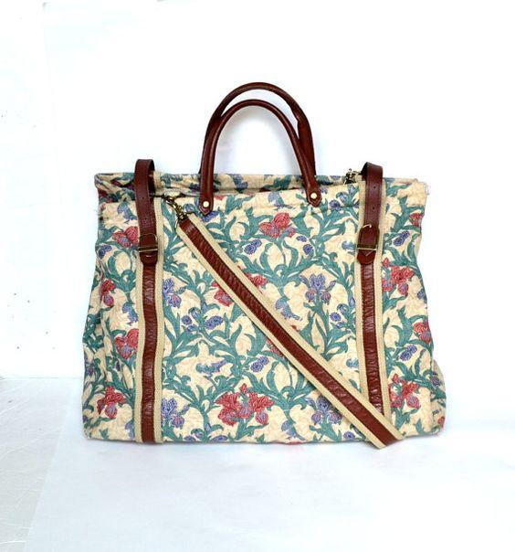 Vintage Brown Leather Weekend Bag Vtg Large Floral Canvas Tote Bag Beige Overnight Bag Travel Purse on Etsy, $48.95
