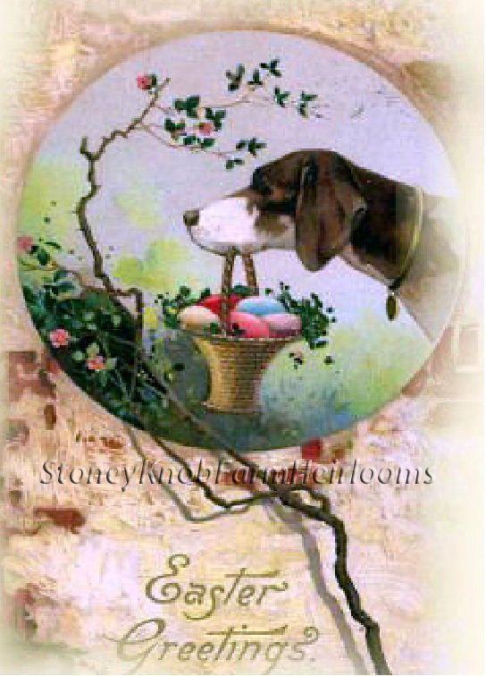 Dog with Easter Egg Basket ~ Vintage Easter ~ Cross Stitch Pattern #StoneyKnobFarmHeirlooms #FramedPicture