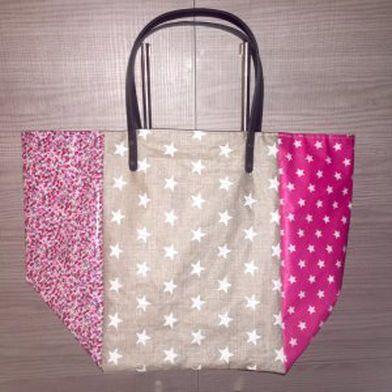 Tuto gratuit sac cabas de plage sac pinterest - Tuto grand sac cabas ...