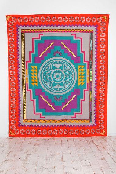 Couverture style tapisserie à motif médaillon du sud-ouest américain