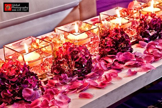 dollarstore vases floating candles, a few hydrangeas and rose petals (big impact for cheap) / idea for bridal table:
