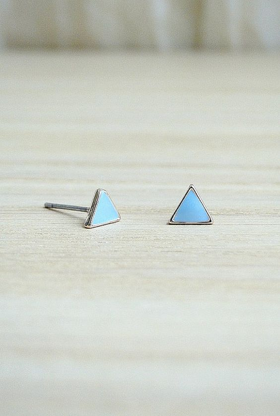 18K Gold tiny triangle earrings, baby blue studs, Tiny post earrings, simple earrings, geometric earrings, minimalist jewelry, gift for her
