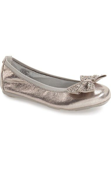 Stuart Weitzman 'Jannie Jewel' Studded Bow Ballet Flat (Little Kid & Big Kid) available at #Nordstrom