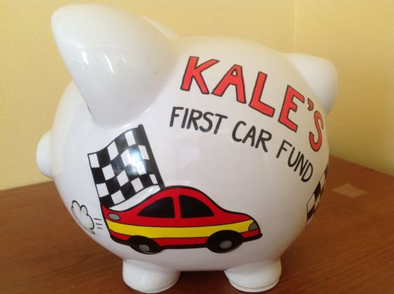 personalized large race car fund checkered flags piggy. Black Bedroom Furniture Sets. Home Design Ideas