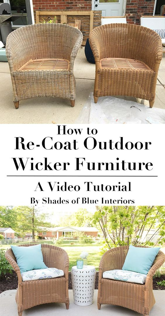 How to refresh aged or worn wicker furniture by recoating for Best paint to use for outdoor mural