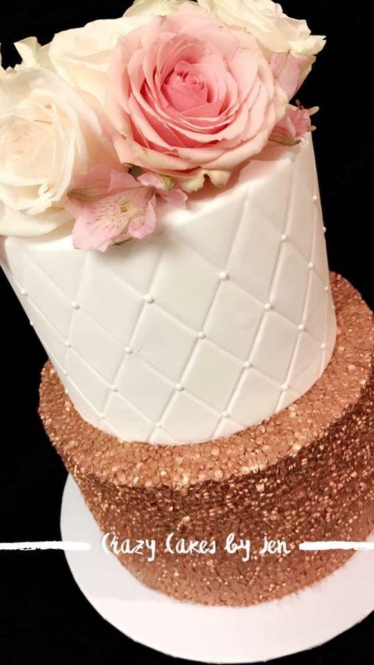 White Rose Gold Birthday Cake Tiered Cakes Birthday Birthday Cake With Flowers Cake Designs Birthday