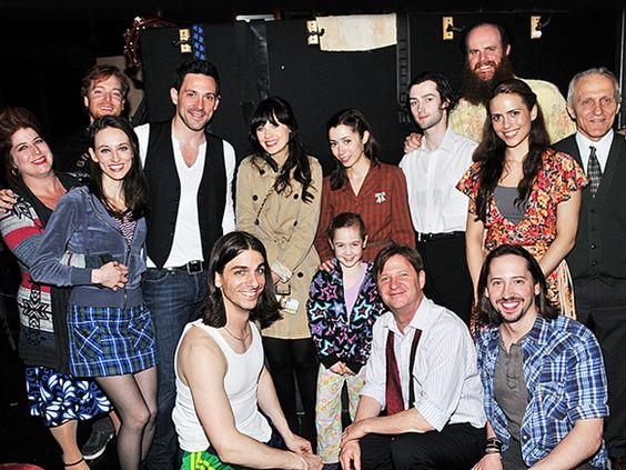 Zooey Deschanel hangs out with the cast of ONCE