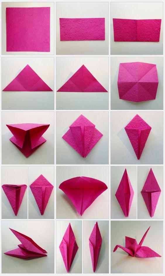 DIY Origami-Kranich für die Hochzeitsdekoration