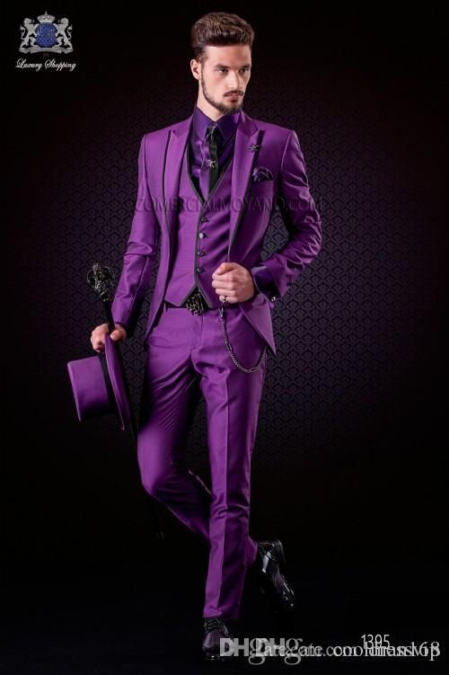 Fashion Purple Men Wedding Tuxedos Peak Lapel One Button Groom