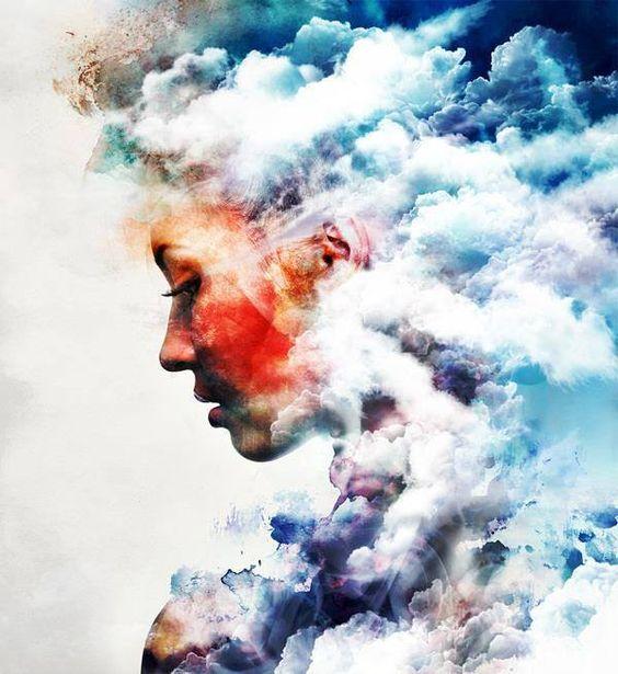 """""""As nuvens,mesmo as mais densas, são transitórias.  Nós, essencialmente, somos Sol."""" (Ana Jácomo) Retratos de Ar / artista: Amy Hayes"""