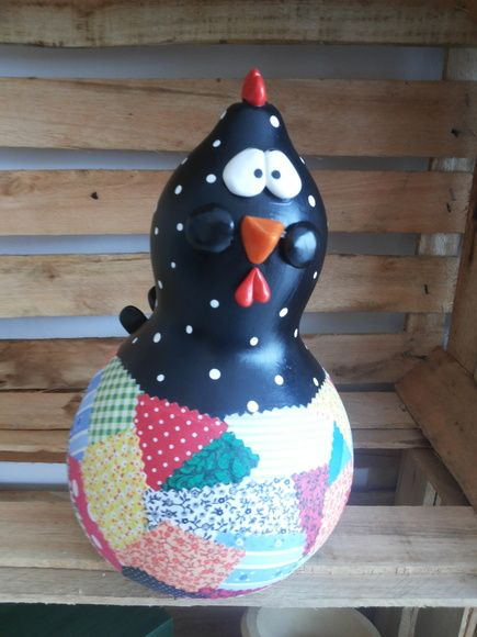 Galinha M com patchwork