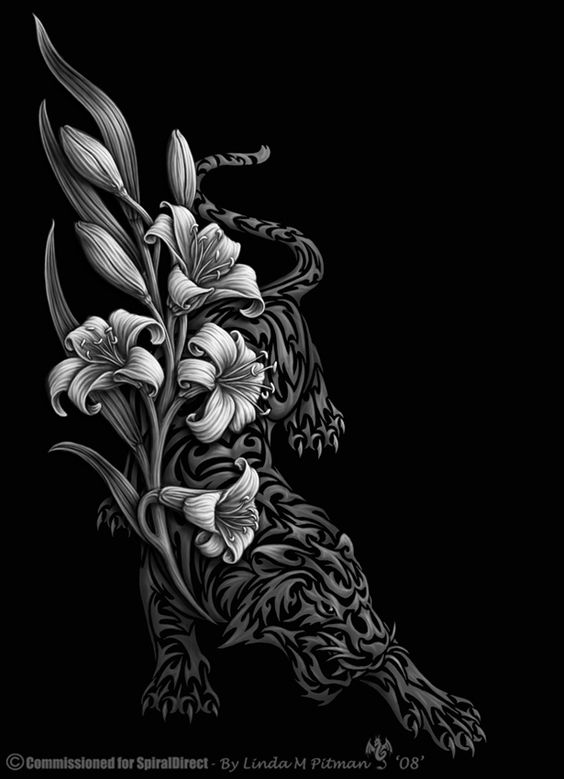Tiger lily tribal by sheblackdragon tattoos pinterest for Dragon lily tattoo
