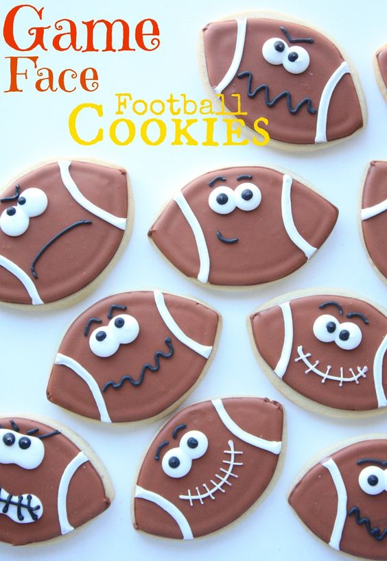 Game Face Football Cookies - I love this design but used my own cookie recipe from the cookie decorating book