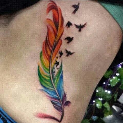 Colors Rainbow And Tattoo Image Feather Tattoo Colour Colorful Rose Tattoos Rainbow Tattoos