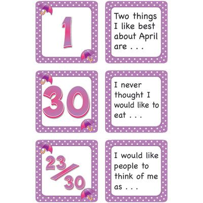 "April Polka Dots Calendar Days/Story Starters, 2-1/2"" x 2-1/2"""