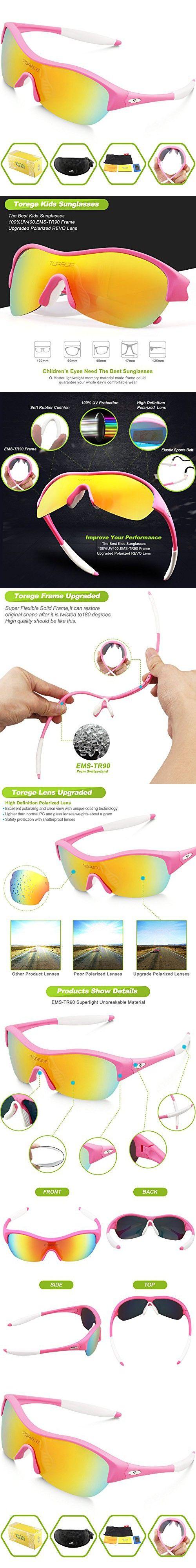 9ed9ed2700 Torege Tr90 Flexible Kids Sports Sunglasses Polarized Glasses for Boys  Girls Age 3-15 Trk001 (White blue)