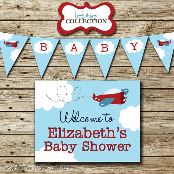 Airplane Baby Shower Party Pack Invitation by designingforpeanuts