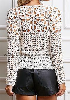 Katia Ribeiro Moda & Decoração Handmade: Blusa em crochê com gráfico e receita ( com motivos )
