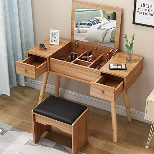 Hdzww Vanity Set With Flip Top Mirror Makeup Dressing Table Writing Desk With 2 Drawers Cush Dressing Table Writing Desk Dressing Table Design Home Room Design Vanity table with mirror and bench