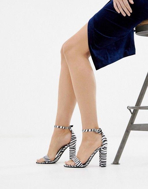 Glamorous Zebra print block heeled