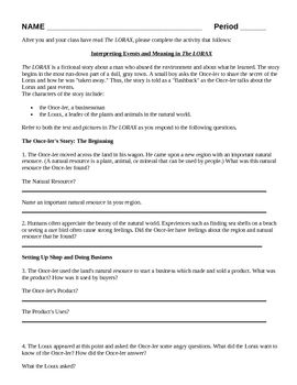 Worksheet Student Worksheet To Accompany The Lorax earth day activities and on pinterest the lorax worksheet activity humans environment lesson focus of