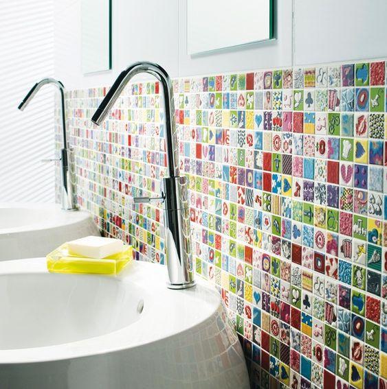 Carrelage mural de salle de bain Castorama - Décoration multicolore ...