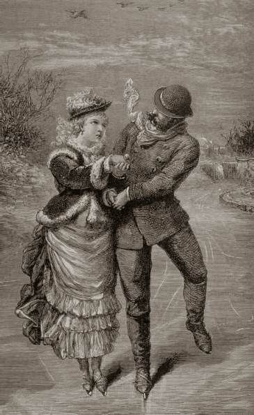 Ice Skating of Victorians--love the gathered apron of the skirt!: