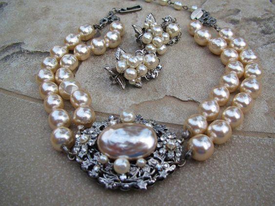 Vintage MIRIAM HASKELL BAROQUE Pearls Rhinestone Necklace & Earrings Set  #MiriamHaskell