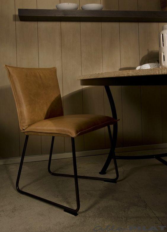 Leren eetkamerstoel duke woonwinkel zwart interieur en for Eetkamerstoel hout met leer