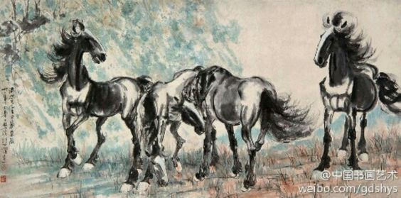 徐悲鸿《四骏图》--- 徐悲鸿以富有变化的大块灰墨绘出马的体态,简练而精确,用浓墨点出头部五官特点,最后以硬笔焦墨扫出随风飘舞的鬃尾。画面用笔纵放淋漓,但造型结构却十分严谨与凝炼又结合西方的块面与光影,浓墨与淡墨交错,湿笔与枯笔互辉,把马的形象表现的十分强健。