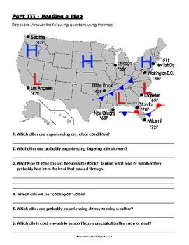 Printables Weather Worksheets Middle School air pressure and weather fronts practice teacherspayteachers com