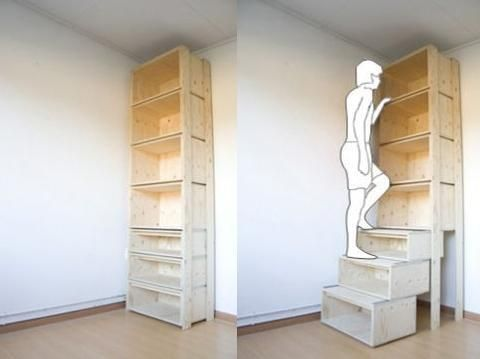 Shelves that pull out to steps   (sorry could not find the link to the original page but wanted to share the idea)