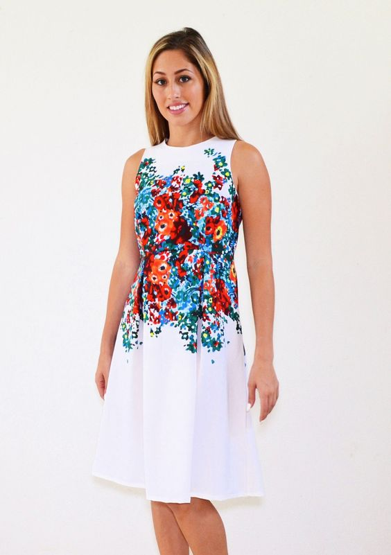 Maya Midi White Floral Modest Dress