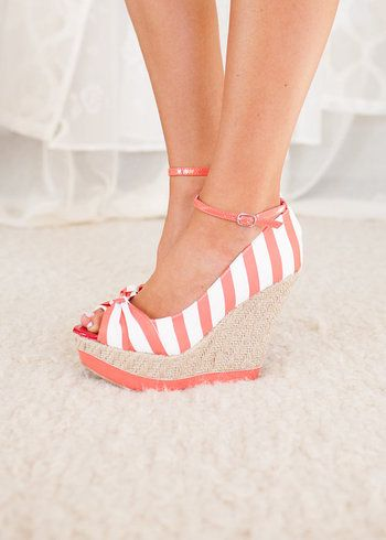 Coral Striped  Wedges