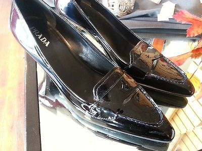 PRADA Classic Pump Patent Leather Black size 39 auction $99