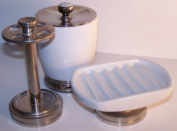 Vintage White Porcelain & Brushed Nickel Craftsman Style Bathroom Accessories - This perfect trio bathroom counter top accessory set is made of porcelain & brushed nickel: includes a toothbrush holder, Q-Tip holder, and soap dish. Ideal for both traditional and modern bathrooms. https://www.etsy.com/listing/183577518/vintage-white-porcelain-brushed-nickel?