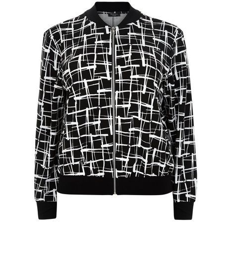Curves Black Abstract Print Bomber Jacket | New Look