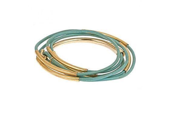 Aqua & gold wrapped bracelet.