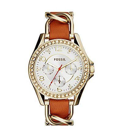 Fossil Ladies Riley Multifunction GoldTone Stainless Steel Glitz Case Watch #Dillards