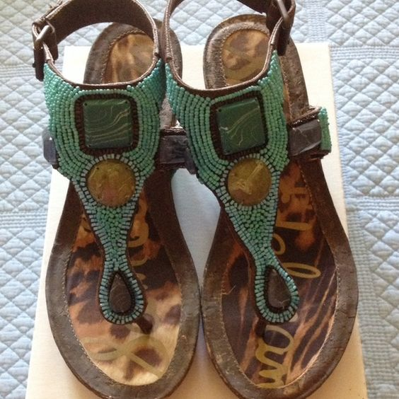 Sam Edelman turquoise beaded cork wedge sandals These are so amazing. Great color and style. Worn once. Sam Edelman Shoes Sandals