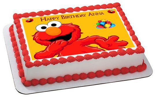 Elmo Edible Birthday Cake Topper OR Cupcake Topper Decor Decor