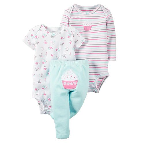 3-piece set. Expandable shoulders. Nickel-free snaps on reinforced panels. Applique, embroidery & screen print. No-pinch elastic waistband.