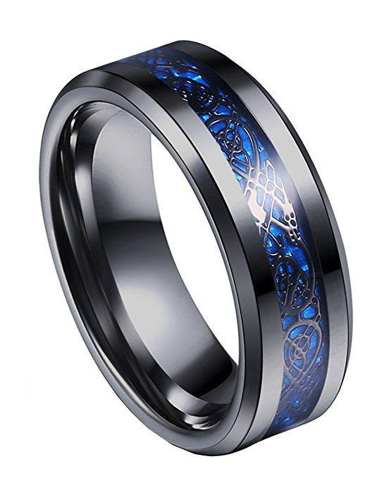 8mm 316L Stainless Steel High Polished Beveled Edge Traditional Classic Wedding Band