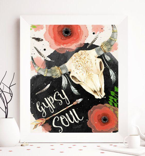$5 Bohemian art print boho Printable cow skull wall by SoulPrintables
