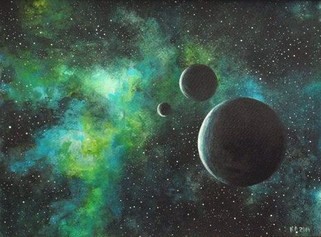 Original painting art acrylic space green black moon for Outer painting design