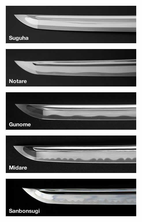 """Hamon (du japonais """" modèle de lame"""") est un effet visuel créé sur la lame par le processus de durcissement (raffermissement). Le hamon est le contour (plan) de la zone durcie (yakiba) qui contient le tranchant (l'avant-garde) (ha). On connaît des lames faites de cette manière comme différentiellement durci. Cette différence dans hardeness résulte de l'argile étant appliquée sur la lame antérieur au processus de refroidissement (l'étouffement)."""