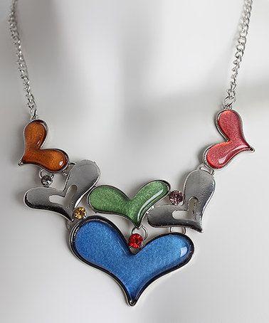 Look what I found on #zulily! Silvertone & Blue Heart Statement Necklace #zulilyfinds
