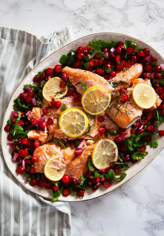 Slow Roasted Salmon w/ Cranberry Salsa
